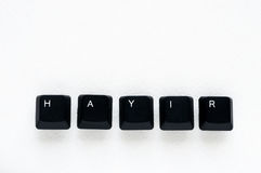 Word `NO` meaning `HAYIR` in Turkish written with keyboard key Stock Photo