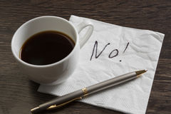 Word NO on napkin Royalty Free Stock Photo