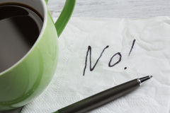 Word NO on napkin Stock Photography