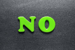 Word no spelled out using colored fridge magnets Royalty Free Stock Images