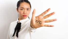 Word No written on businesswoman hand royalty free stock images