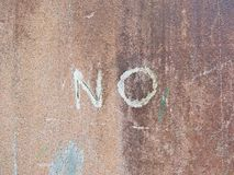 Word NO written on the old wall. Wording NO written on the old wall Stock Images
