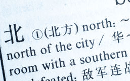 Word North written in Chinese language Stock Photos