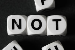 Word not on toy cubes Royalty Free Stock Images