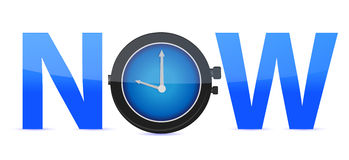 Word Now with a clock in the letter O Stock Photos
