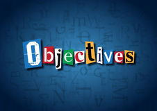 The word Objectives made from cutout letters. On a blue background Royalty Free Stock Photos