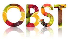 The word OBST cut out. From a background of fruits ( Obst the german word for fruit Stock Photos