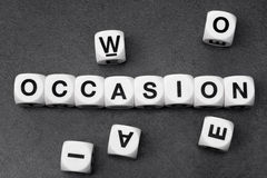 Word occasion on toy cubes. Word occasion on white toy cubes Royalty Free Stock Image
