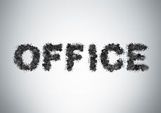 The word OFFICE is composed from black leather office chairs. Royalty Free Stock Photo