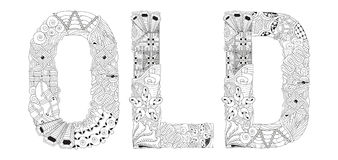 Word OLD for coloring. Vector decorative zentangle object Stock Photo
