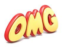 Word OMG verdraaide rood en geel plastiek bij 3D grond de bezinning Royalty-vrije Stock Fotografie
