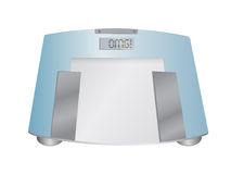 The word OMG on a weight scale, illustration Stock Photography