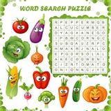 Word onderzoeksraadsel Vectoronderwijsspel voor kinderen Beeldverhaalgroenten emoticons royalty-vrije illustratie