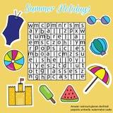 Word onderzoeksraadsel voor kinderen, onderwijsspel Het thema van de de zomervakantie Stock Foto's