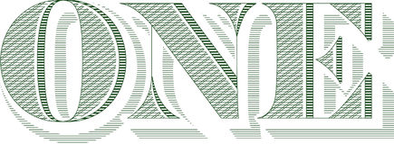 The word ONE from a bill. The word ONE from a dollar bill isolated on a white background. Also in vector format stock illustration
