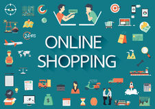 Word ONLINE SHOPPING with big set of involved flat icons around. Royalty Free Stock Photos