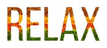 Word ontspant geschreven met bladerenwit geïsoleerde achtergrond, banner voor druk, creatieve illustratie van gekleurde bladeren Stock Foto