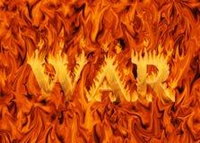Word oorlog in vlammen wordt overspoeld die Royalty-vrije Stock Afbeelding