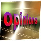 Word `opinions` in red on reflecting abstract aluminum surface. Word `opinions` in red on reflecting aluminum surface Stock Photography