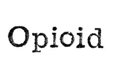The word `Opioid` from a typewriter on white Royalty Free Stock Images