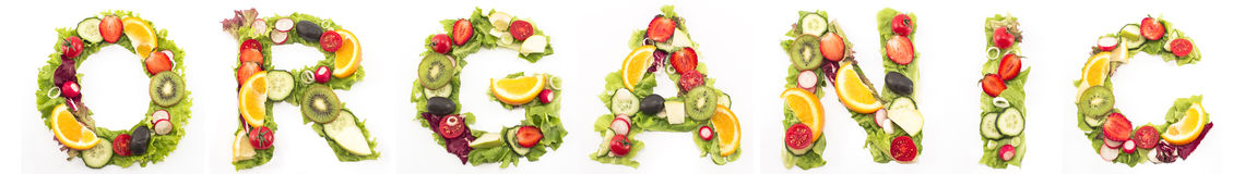 Word organic made of salad and fruits Stock Photo