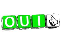The word Oui - Yes in many different languages. Stock Images