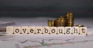 Word OVERBOUGHT composed of wooden letter. Stacks of coins in the background. Closeup royalty free stock photography