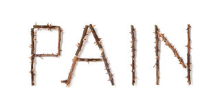 Word pain made up of thorny rose stems Stock Photos