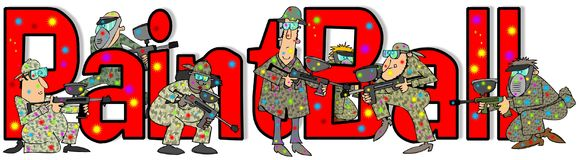 The word Paintball. Illustration of the word Paintball with people in camouflage shooting guns Royalty Free Stock Photo