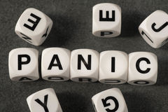 Word panic on toy cubes Stock Images