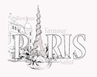 Word Paris decorated with Eiffel Tower Stock Photos