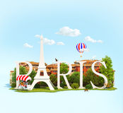Word Paris on the square Royalty Free Stock Photography