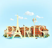 Word Paris on the square Royalty Free Stock Photo
