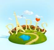 Word Paris sur la place Photo libre de droits