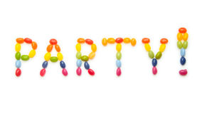 Word PARTY ! made of jelly beans sweets. Kids' craft design - word PARTY! composed of jelly beans, on white background Stock Images