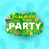 Word PARTY summer composition with creative green jungle leaves fruits and coctail in paper cut style. Tropical craft. Design for your poster, banner, flyer T Stock Photos