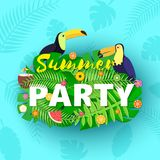 Word PARTY summer composition with creative green jungle leaves toucans fruits and coctail in paper cut style. Tropical. Birds fruits leaf for design poster royalty free illustration