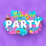 Word PARTY summer composition with creative pink and blue jungle leaves fruits and coctail in paper cut style. Tropical. Craft design for your poster, banner royalty free illustration