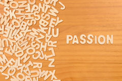 Word passion made with block wooden letters Royalty Free Stock Photos