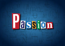 The word Passion made from cutout letters. On a blue background Royalty Free Stock Photos