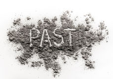 Word past written in fossil ash Stock Photo