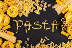Free Word Pasta From Pasta On The Black Background Stock Photography - 65321242