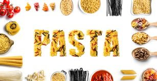 Word pasta made of different types of raw pasta. Word pasta made of different types of raw Italian pasta on white background, top view Stock Photography