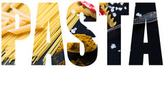Word PASTA over different kinds of pasta, red chili pepper, rose Royalty Free Stock Image