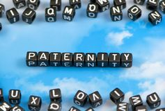 The word Paternity. On the sky background royalty free stock images