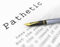 Word pathétique signifie pauvre insuffisant ou Images libres de droits