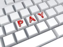 Word PAY on keyboard. Royalty Free Stock Images