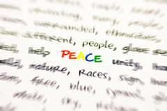 Word peace Royalty Free Stock Photography