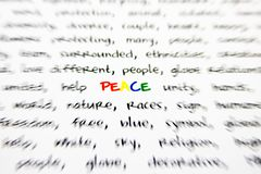 Word peace. With blurred edges Royalty Free Stock Photos