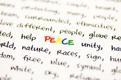 Word peace Stock Photography
